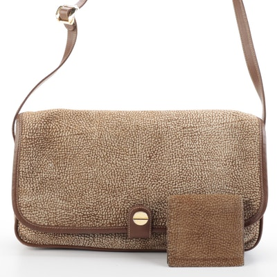 Borbonese by Redwall Shoulder Bag and Wallet in Patterned Suede and Leather