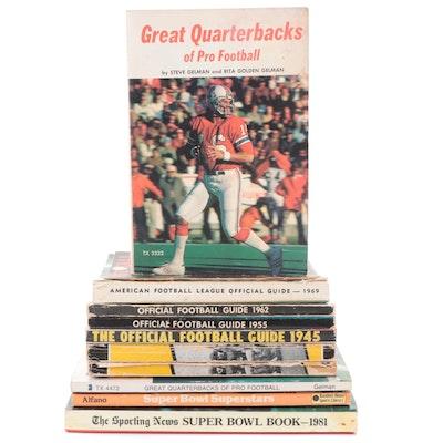 """Great Quarterbacks"", ""AFL Guide 1969"", More NFL, NCAA Football Rule Books"