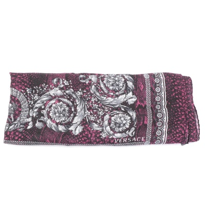 Versace Snakeskin Print Shawl with Scrolling Acanthus Foliate Border