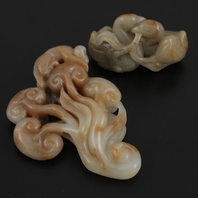 Chinese Carved Serpentine Ducks with Lotus and Monkey with Trees Figurines