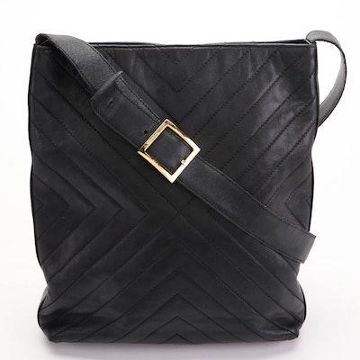 Salvatore Ferragamo Shoulder Bag in Black Quilted Lambskin