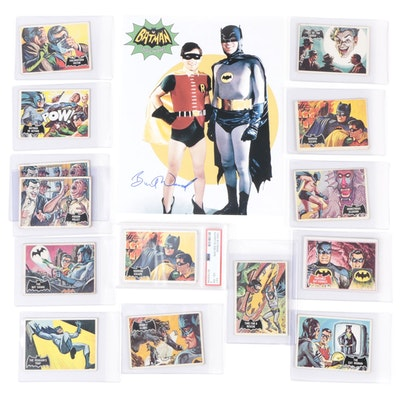 "1966 Batman Topps Trading Cards and Burt Ward ""Robin"" Signed Photo Print"