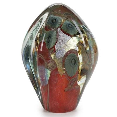 """Robert Eickholt """"Deep Sea"""" Handblown Iridescent Art Glass Paperweight, 2007"""