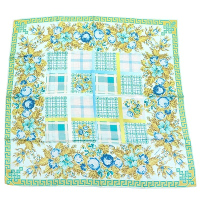 Versace Collection Silk Scarf in Pixelated Floral Print