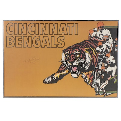 1970 Paul Brown Hall of Fame Owner and Head Coach Signed  NFL Bengals Poster