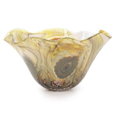 """Robert Eickholt """"Seascape"""" Handblown Art Glass Bowl, 2008"""