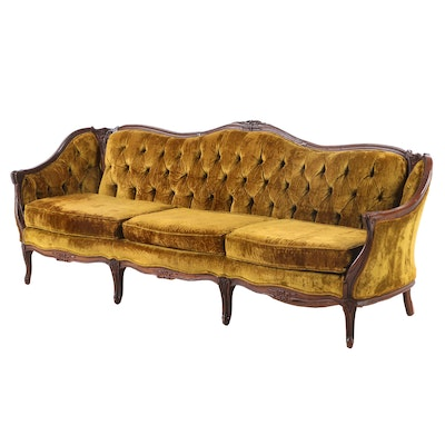 Louis XV Style Carved Sofa with Tufted Velvet Upholstery, 20th Century