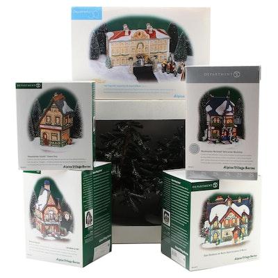 "Department 56 ""Alpine Village"" Porcelain Building Figurines and Hemlock Trees"