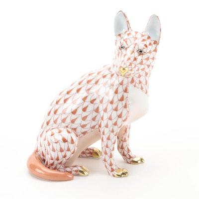 "Herend Rust Fishnet with Gold ""German Shepherd"" Porcelain Figurine"