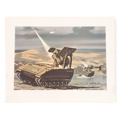 """Offset Lithograph Poster of U.S. Army """"Mauler"""" in Action, Late 20th Century"""