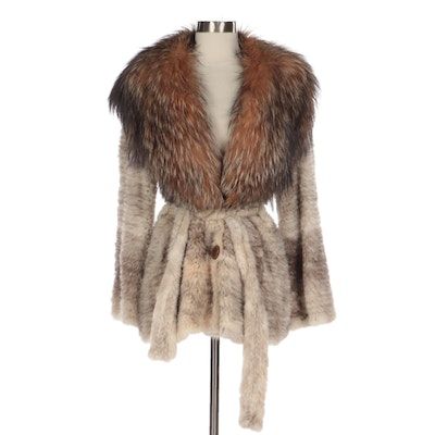 Knitted Dark Cross Mink Fur Belted Jacket with Tie Belt and Fox Fur Shawl Collar