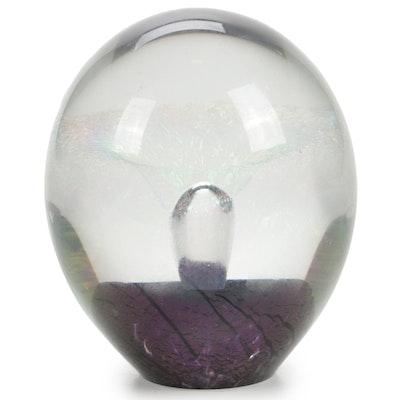 Robert Eickholt Handblown Iridescent Art Glass Paperweight, 2003