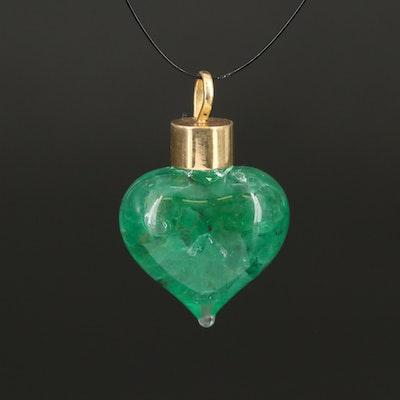 14K Stone Chips in Glass Heart Shaped Pendants