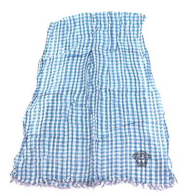 Versace Collection Two-Tone Blue Gingham Patterned Scarf with Medusa Head Logo