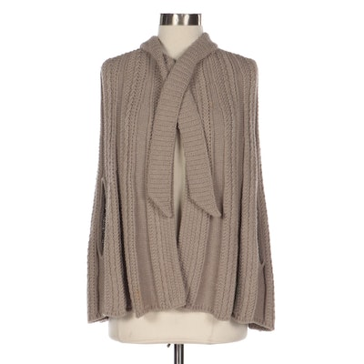 RED Valentino Cable Knit Wool Blend Poncho Cape