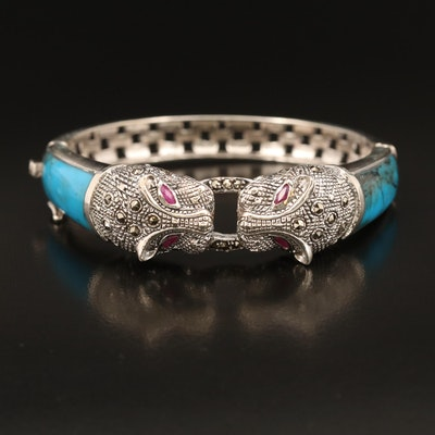 Sterling Turquoise, Ruby and Marcasite Feline Door Knocker Hinged Bangle