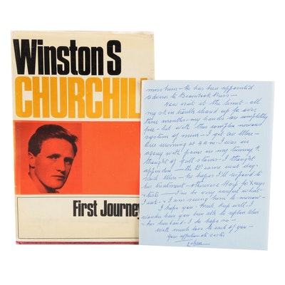 """Signed First UK Edition """"First Journey"""" by Winston S. Churchill, 1964"""