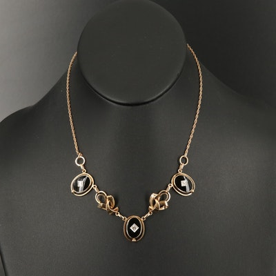 1930s Carl-Art 14K Diamond and Black Onyx Necklace with Palladium Accents
