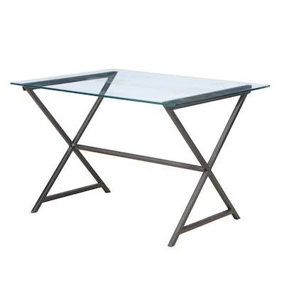 Modernist Style Patinated Metal and Glass Top Writing Table