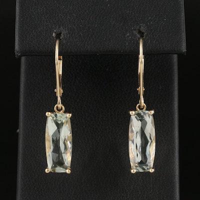 14K Prasiolite Drop Earrings