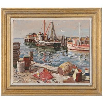 George Cherepov Harbor Scene Oil Painting