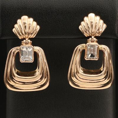14K Italian Gold Cubic Zirconia Fluted Door Knocker Earrings