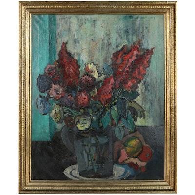 Modernist Floral Still Life Oil Painting, 1947