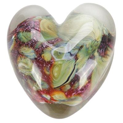 """Robert Eickholt """"Agate"""" Handblown Art Glass Heart Paperweight, 2004"""