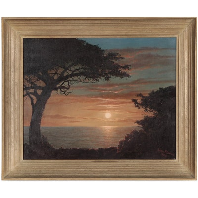 Albert Simpson Coastal Sunset Landscape Oil Painting, 1968