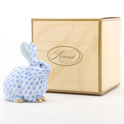 """Herend Blue Fishnet with Gold """"Chubby Bunny"""" Porcelain Figurine, 2006"""