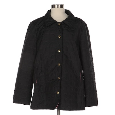Coach Lightweight Button-Up Jacket in Quilted CC Black Nylon