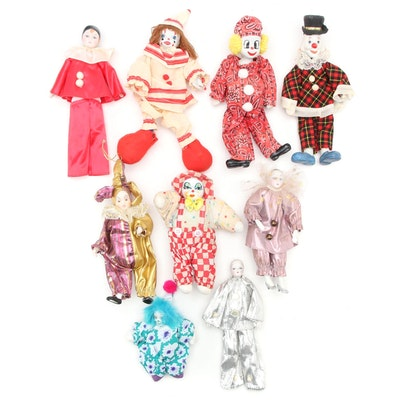 Bisque and Porcelain  Soft Body Clown Dolls