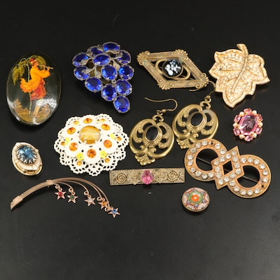 Antique and Vintage Jewelry with Russian Palekh Painted Lacquer Brooch