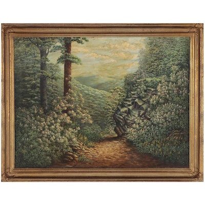 Clara Prince Landscape with Rhododendrons Oil Painting, 1950