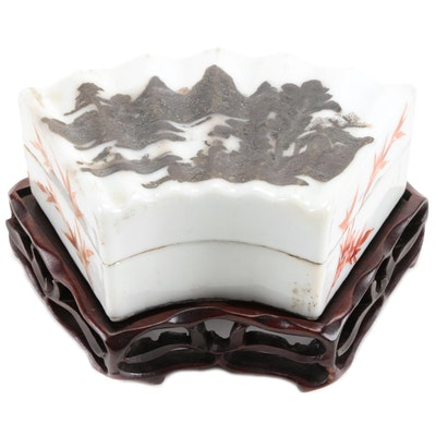 Chinese Porcelain Fan Shaped Box with Carved Wood Stand
