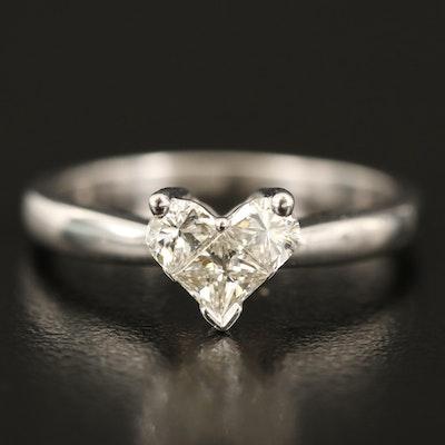 14K 0.53 CTW Diamond Heart Shaped Ring