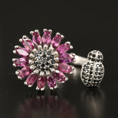 Sterling Garnet and Black Spinel Insect and Flower Open Shank Ring