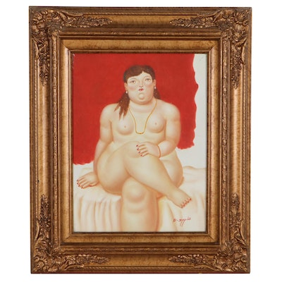 """Oil Painting After Fernando Botero """"Seated Woman,"""" Circa 2000"""