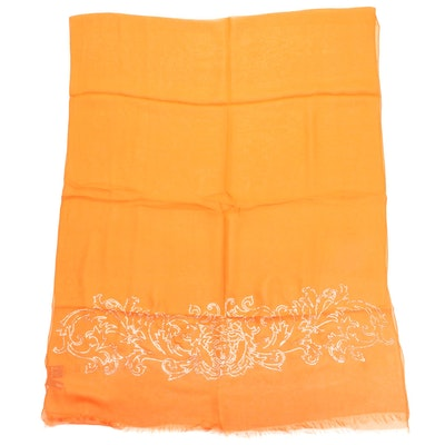 Versace Collection Scarf in Orange Silk with Medusa Head Baroque Embellishment