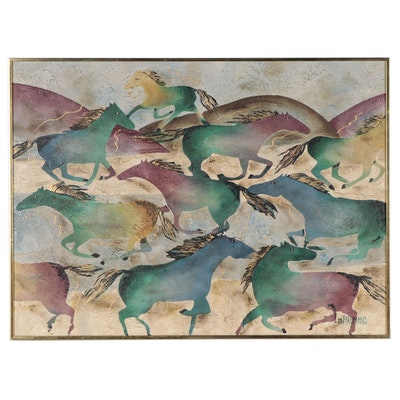 Lee Raymond for Vanguard Studios Stylized Acrylic Painting of Horses