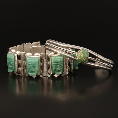 Signed Mexican Sterling Carved Calcite Panel Bracelet with Turquoise Cuff