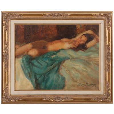 """David Mueller Oil Painting """"Afternoon Nap,"""" Late 20th Century"""