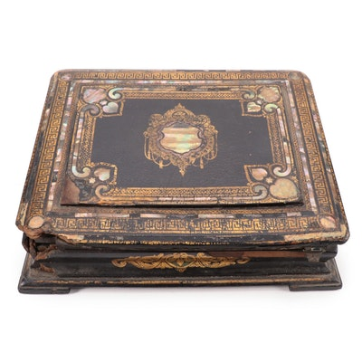 Victorian Lacquered Papier-Mâché Lap Desk with Gilt Accents and Abalone Inlay
