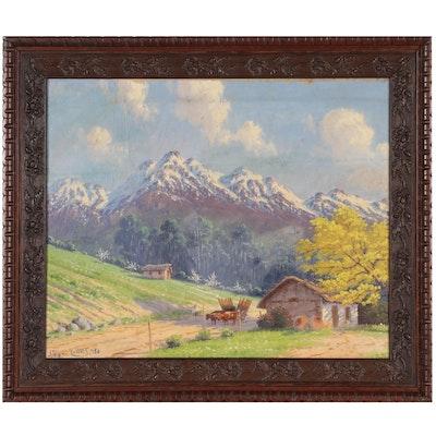 Alfredo Lobos Aranguiz Landscape Oil Painting, 1950