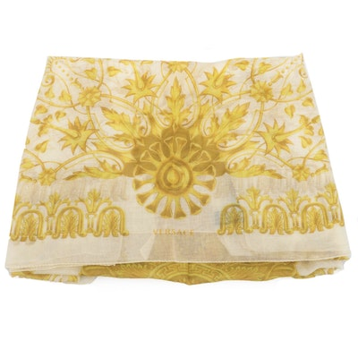 Versace Collection Baroque Patterned Shawl in Modal and Linen
