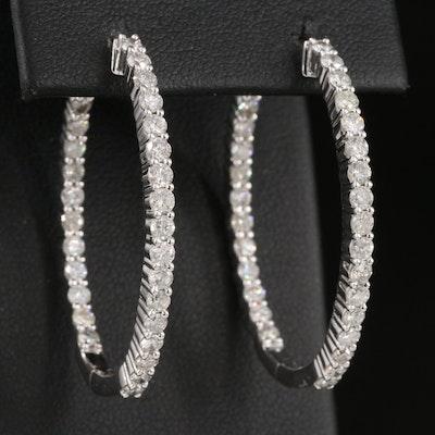 14K 2.49 CTW Diamond Oval Inside-Out Hoop Earrings