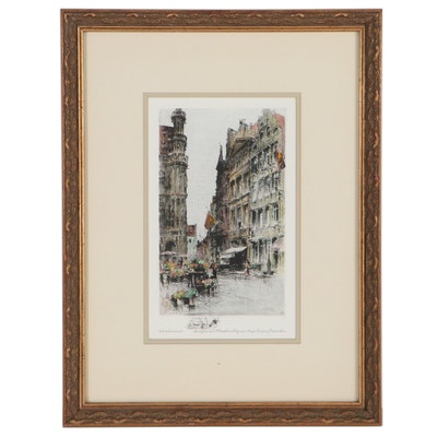 Paul Geissler Hand-Colored Etching of Brussels Street Scene