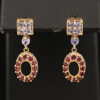 10K Tanzanite and Rhodolite Garnet Earrings