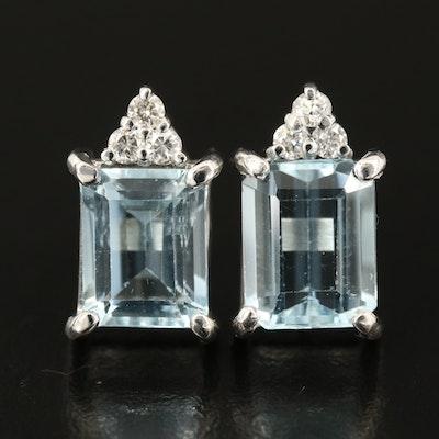18K Aquamarine and Diamond Earrings