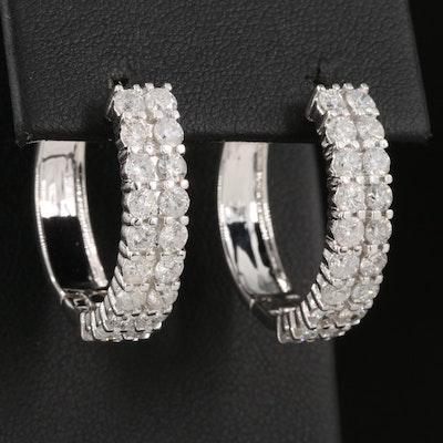 14K 2.94 CTW Diamond Double-Row Hoop Earrings